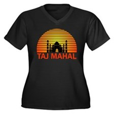 Taj Mahal. Women's Plus Size V-Neck Dark T-Shirt