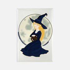 Witch, Cat & Moon Rectangle Magnet