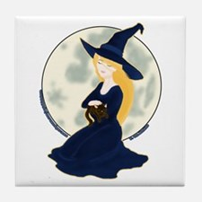 Witch, Cat & Moon Tile Coaster