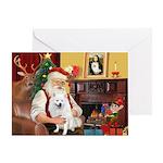 Santa's American Eskimo #5 Greeting Card