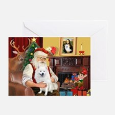 Santa's American Eskimo #5 Greeting Cards (Pk of 1