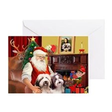 Santa's 2 Bearded Collies Greeting Card