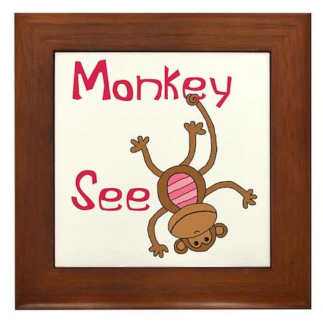 Monkey See pink Framed Tile