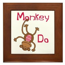 Monkey Do pink Framed Tile