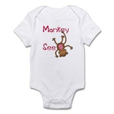 Monkey See pink Infant Bodysuit