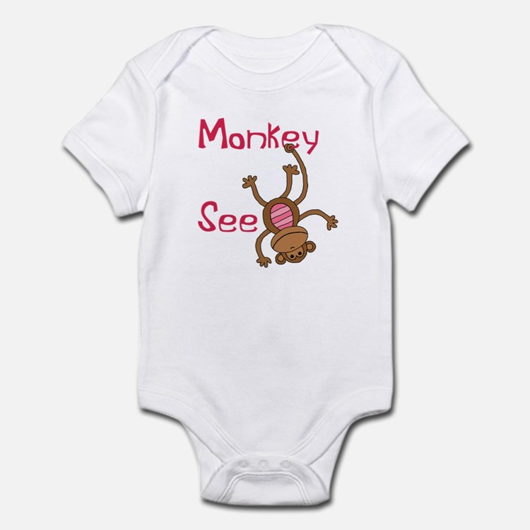 Monkey See pink Infant Bodysuit