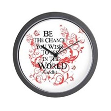 Gandhi Vine - Be the change - Maroon Wall Clock