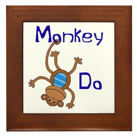 Monkey Do blue Framed Tile