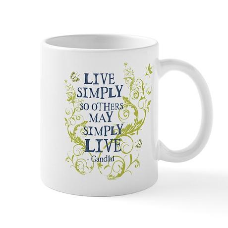 Gandhi Vine - Live Simply - Blue & Green Mug