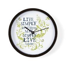 Gandhi Vine - Live Simply - Blue & Green Wall Cloc
