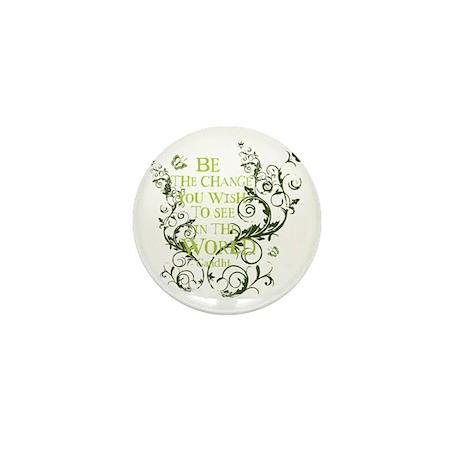 Gandhi Vine - Be the change - Green Mini Button