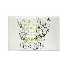 Gandhi Vine - Be the change - Green Rectangle Magn