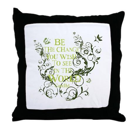Gandhi Vine - Be the change - Green Throw Pillow