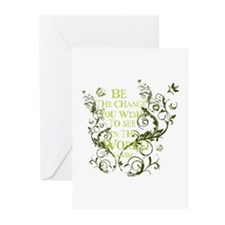 Gandhi Vine - Be the change - Green Greeting Cards
