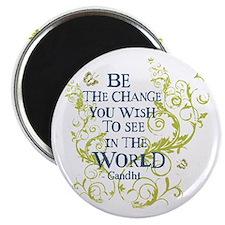 Gandhi Vine - Be the change - Blue & Green Magnet