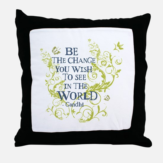 Gandhi Vine - Be the change - Blue & Green Throw P
