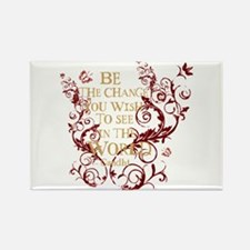 Gandhi Vine - Be the change - Burgundy Rectangle M