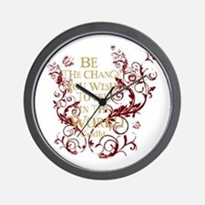 Gandhi Vine - Be the change - Burgundy Wall Clock