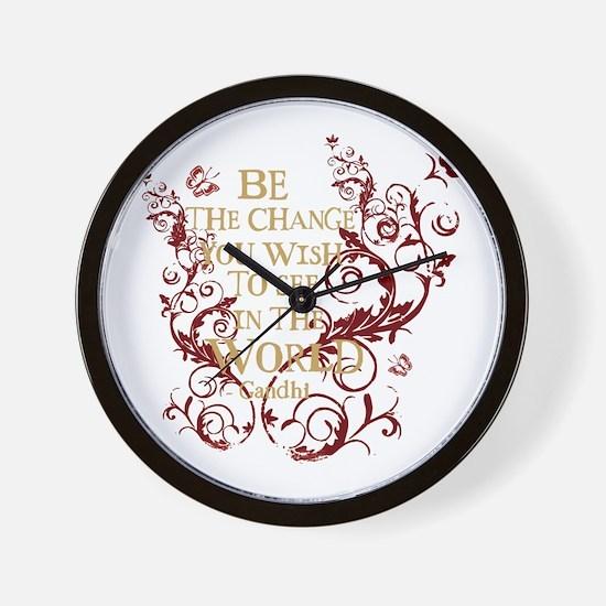 Gandhi Vine - Be the change - Burgundy Wall Clock