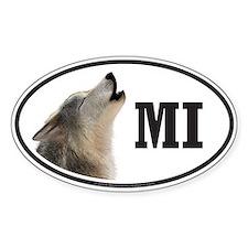 MI Michigan Wolf oval bumper sticker decal (Oval)