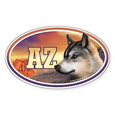 AZ Arizona Wolf car bumper sticker decal (Oval)