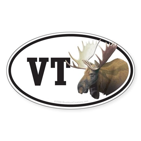 VT Vermont Moose car bumper sticker decal (Oval)