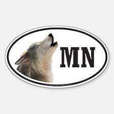 MN Minnesota Wolf bumper sticker decal (Oval)