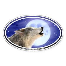 Wolf Moon II car bumper sticker decal (Oval)