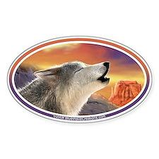 Desert Wolf II car bumper sticker decal (Oval)