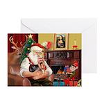 Santa's Yorkie (#9) Greeting Cards (Pk of 10)