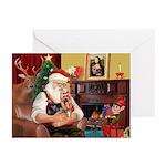 Santa's Yorkie (#9) Greeting Cards (Pk of 20)