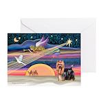 XmasStar/Yorkie (#9) Greeting Cards (Pk of 10)