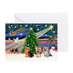 XmaMagic/3Yorkies (T1) Greeting Cards (Pk of 20)
