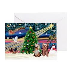 Xmas Magic/2Yorkies Greeting Card