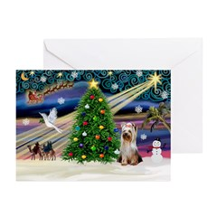 Xmas Magic / Yorkie (#2) Greeting Cards (Pk of 10)