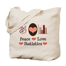 Peace Love Statistics Statistician Tote Bag