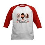 Peace Love Statistics Kids Baseball Jersey