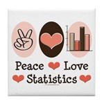Peace Love Statistics Statistician Tile Coaster