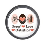 Peace Love Statistics Statistician Wall Clock
