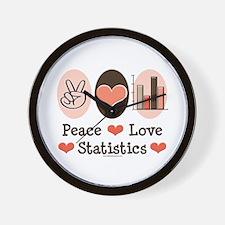 Peace Love Statistics Statistician Wall Clock