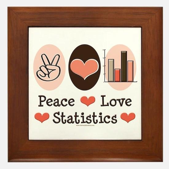 Peace Love Statistics Statistician Framed Tile