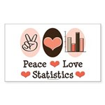 Peace Love Statistics Statistician Sticker (Rectan