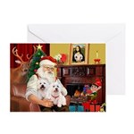 Santa's Westie pair Greeting Card