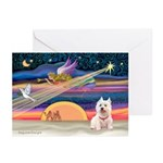 Xmas Star & Westie Greeting Cards (Pk of 10)