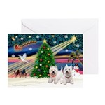 Xmas Magic/2 Westies Greeting Card
