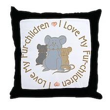 I Love my Rat Fur-Children Throw Pillow