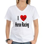 I Love Horse Racing Women's V-Neck T-Shirt