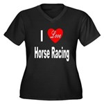 I Love Horse Racing (Front) Women's Plus Size V-Ne