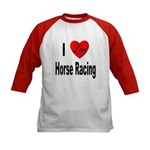 I Love Horse Racing (Front) Kids Baseball Jersey
