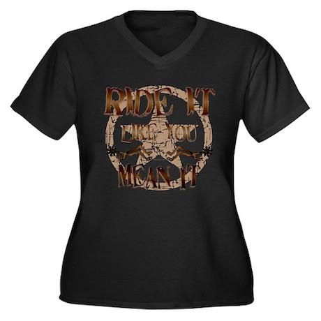 Ride It Women's Plus Size V-Neck Dark T-Shirt